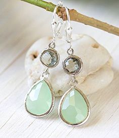 Mint Teardrop and Charcoal Jewel Drop Earrings in Silver. Mint and Grey Bridesmaid Dangle Earrings. Jewelry Gift.