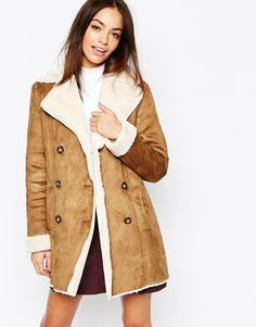 New Look Bonded Faux Sheepskin Coat, stærð: 10