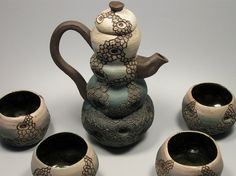 SALE Painted/Carved Blue/Green Ceramic Tea Set by taramadeit, $175.00