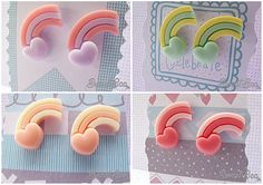 £3.50 Pastel Rainbow Heart Women's Stud Earrings Kitsch by SweetBeeGift