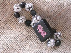Black dragon Mahjong tile bracelet by MahjongJewelry on Etsy, $18.00