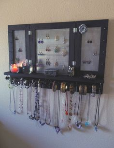 You Pick The Stain, Hook and Mesh Colors, Deluxe Jewelry Organizer, Jewelry Storage, Wall Mounted Jewelry - DIY Jewelry Boho Ideen Diy Jewelry Tray, Jewelry Organizer Wall, Diy Jewelry Holder, Wall Organization, Jewelry Armoire, Jewellery Storage, Jewelry Organization, Necklace Holder, Jewelry Box