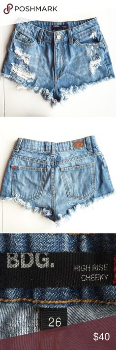 BDG High Rise Cheeky Distressed Jean Shorts BDG High Rise Cheeky Distressed Jean Shorts  ❥ Size 26  ❥ 11 inch rise, 1.5 inch inseam Urban Outfitters Shorts Jean Shorts