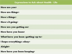Forum | ________ Learn English | Fluent LandExpressions to Ask about Health/Life | Fluent Land