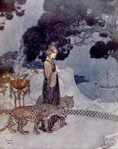 Vintage Illustrations Circe, The Enchantress. An Edmund Dulac illustration for a poem by Andrew Dumas. Edmund Dulac, Art And Illustration, Vintage Illustrations, Botanical Illustration, Fantasy Kunst, Fantasy Art, Drawn Art, Fairytale Art, Inspiration Art