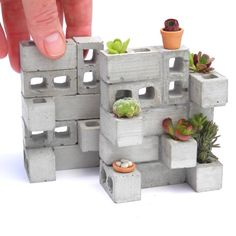 NEW Miniature Cinderblock Planter from TwoGreenThumbs.com! Made in the USA! Sedum cuttings and a wee pot is included!