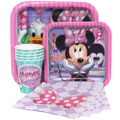Minnie Mouse Express Party Package // 8 Lunch Plates, 8 Lunch Napkins, 8 Dessert Plates, 8 Cups