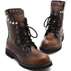 Men Brown Leather Bullet Studded Lace Up Punk Biker Cowboy Boots SKU-1280715