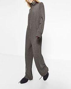 ZARA-GREY-Long-oversized-FRONT-ZIPPED-MAXI-JUMPSUIT-High-collar-Long-sleeves-NWT
