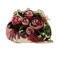 Mary Frances Rosette Mini Floral Flower Bag Handbag Product Features Elegant hand crafted velveteen flowers adorn the front of this kiss-lock closure mini bag with cross-body chain strap. W x D x H: x 2 x Strap Length End to End: 47 Drop Length: Mary Frances Purses, Mary Frances Handbags, Beaded Purses, Beaded Bags, Mini Handbags, Purses And Handbags, Unique Handbags, Ruffle Beading, Flower Bag