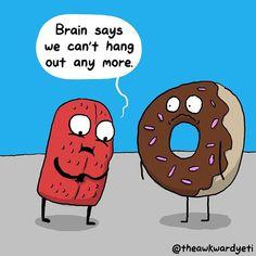 Funny Illustration, Creative Illustration, Illustrations, Akward Yeti, The Awkward Yeti, Cute Comics, Funny Comics, Heart And Brain Comic, Funny Cartoons