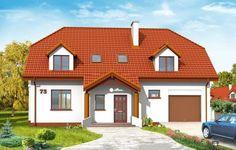 Projekt Akacjowy to wygodny, duży dom. Dom zaprojektowany bez kompromisów, podziału na małe pomieszczenia, bez rezygnacji z potrzebnych funkcji. Ładna proporcjonalna bryła domu zwieńczona dachem naczółkowym ma mocno zaakcentowane wejście, w postaci reprezentacyjnego podcienia wspartego na kolumnach.
