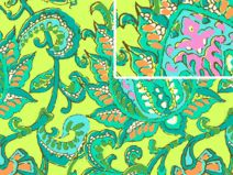 Cord Corduory Amy Butler  Dancing Paisley lemon