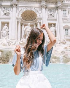 Making a wish at the Trevi Fountain in Rome. Cute summer outfit, flowy short sleeved pale blue top and white pinafore dress. By Kaitlyn Towner Rome Travel, Italy Travel, Travel Pictures, Travel Photos, Europe Photos, Voyage Rome, Italy Outfits, Trevi Fountain, Photos Tumblr