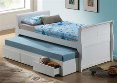 Nebo Youth White Wood Full Bed w/Trundle