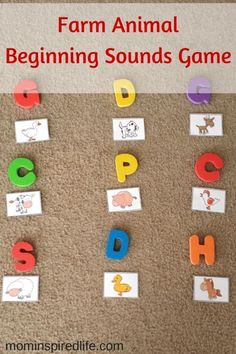 Pick sound that matches. Farm Animals Beginning Sounds Game is a fun gross motor alphabet learning activity for preschoolers. This would be a great addition to your farm theme preschool lesson plans. Farm Animals Games, Farm Animals Preschool, Preschool Literacy, Preschool Lesson Plans, Preschool Themes, Animal Games, Zoo Animals, Farm Activities, Movement Activities
