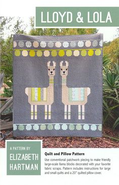 Quilt and Pillow Pattern by Elizabeth Hartman Use conventional patchwork piecing to make friendly large-scale llama blocks decorated with your favorite fabric scraps. Pattern includes instructions for large and small quilts and a quilted pillow cover. Owl Quilt Pattern, Fox Quilt, Quilt Patterns, Applique Patterns, Sewing Patterns, Quilting Projects, Quilting Designs, Sewing Projects, Quilting Ideas