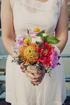 A bright modern bridal bouquet | Khaki Bedford Weddings | TheKnot.com