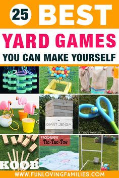 These outdoor DIY games are so fun and are perfect for a kids backyard party. Click through to see all 25 DIY game ideas. #outdoorgames #backyardparty