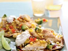 These crisp tilapia tostadas have all the appeal of traditional fish tacos, but the flat shape allows you to pile toppings high. Although we broil corn tortillas for the base, substitute flour tortillas, or use prepared shells, if you prefer.   View Recipe: Tilapia Tostadas with Roasted Corn Relish