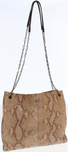 #Prada Brown Snakeskin Vintage Shoulder Bag.