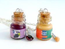 BFF Peanut Butter & Jelly Jar with Knife & Spoon Necklace Set, Best Friend's :)