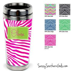 Monogrammed Travel Tumbler, Personalized Coffee Tumbler on www.SassySouthernGals.com Zebra Print