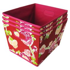 """Room Essentials Red Floral 15.5""""x 10.0"""" H x 13.0"""" W Large Fabric bin s/3  - Large"""