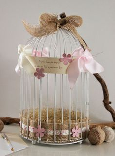 Reserved: White bird cage wedding urn – Country decoration in … - Pink Rezepte Deco Table Communion, Bird Cage, Country Decor, Bird Houses, Home Deco, Centerpieces, Shabby Chic, Nursery, Gifts