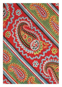 PAISLEY STRIPE NOTECARD This fabric was block-printed in Russia during the 3rd quarter of the 19th century. The green was achieved by overpr...