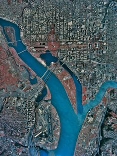 Aerial view of Washington District of Columbia. Alexandria VA, Crystal City VA, Potomac River, in DC Georgetown, Foggy Bottom, the Mall, Tidal Basin, et al.