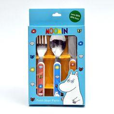 Cutlery set featuring Moomin characters.Aterinsetti jossa nähdään Muumihahmoja.Bestickset med Mumin figurer som motiv.