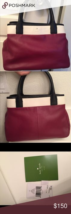 Kate Spade Branton Square Purse New with Tags This Kate Spade handbag is dark red, cream, and black leather with detachable black leather shoulder strap. Comes with original tags and dust protection bag. Easily one of the prettiest bags I have seen but just can't keep in my closet anymore. kate spade Bags Shoulder Bags