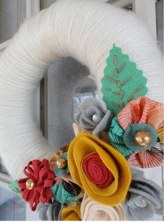 yarn and felt Christmas wreath