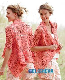 Ажурный лёгкий жакет удивительной красоты от Drops Design вязаный крючком | Блог elisheva.ru