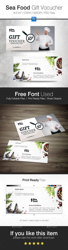 Sea Food Gift Voucher - Cards & Invites Print Templates