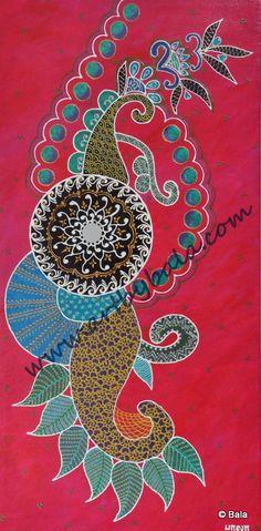 Henna style painting, 2011. Henna style textured acrylics on canvas. © Bala Thiagarajan. 2011. www.artbybala.com