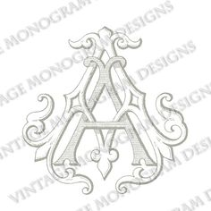 AA monogram - vintage monogram scanned from antique book and provided in digital format - style 1