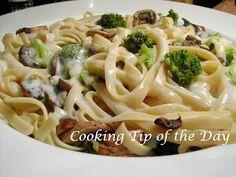 Cooking Tip of the Day: Recipe: Skinny Broccoli and Mushroom Fettuccini Alfredo