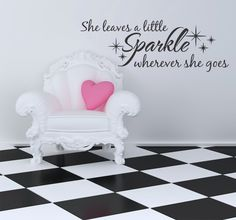 She Leaves a Little Sparkle Wherever She Goes Quote Wall Decal by DecorDesigns on Etsy https://www.etsy.com/listing/198771422/she-leaves-a-little-sparkle-wherever-she