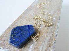 Lapis Lazuli Organic Nugget Necklace. Gold Filled Chain. Gold Pyrite. Simple. Long Chain. Modern Necklace. Minimalist.