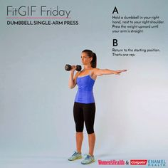 This Simple Move Is Actually a Killer Total-Body Toner  http://www.womenshealthmag.com/fitness/fitgif-friday-dumbbell-single-arm-press?utm_source=WMH09