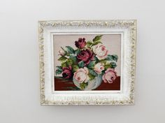 Antique Distressed Framed Floral Needlepoint by LittleDixieVintage