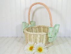 Vintage Hand Woven Off-White Wicker & Ribbon Flower Basket - Retro Garden Room Magazine Rack - Shabby Chic Carry All Oversized Decorator Bin $26.00 by DivineOrders