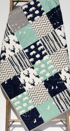 Woodland Quilt, Baby Boy Toddler, Nursery Bedding, Deer
