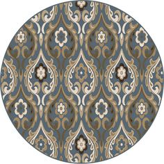 Shop Home Dynamix Cape Town Round Blue Floral Woven Area Rug (Common: 5-ft x 5-ft; Actual: 5.16-ft x 5.16-ft) at Lowes.com