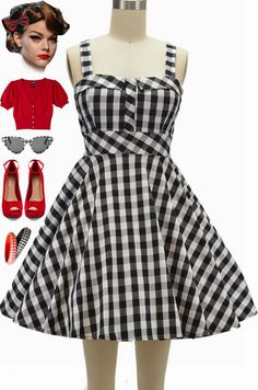 "Brand new at Le Bomb Shop!! Black and White Gingham print in our ""Fold Over Bust Sun Dress!"" Only $42 with FAST & FREE U.S. s/h! Also available in 22 other prints & colors.. Get yours here at Le Bomb Shop: http://lebombshop.net/search?type=product&q=%22fold+over+bust+sun+dress%22&search-button.x=0&search-button.y=0  Big box ""indie"" website sells this dress for $64.99 ;-)"