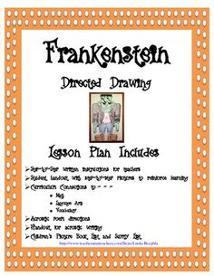 Halloween Art - Frankenstein - This fun art lesson includes easy step-by-step… Have Fun Teaching, Creative Teaching, Teaching Art, Drawing Lessons, Art Lessons, Frankenstein Art, Teacher Portfolio, Scary Drawings, Directed Drawing