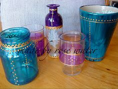 DIY Moroccan inspiration. Give any glass, jar, vase a new look with glass paint and gold paint in a tube <3 Let it dry for 24 hours and put it in the oven for 40 minutes on 150 degrees Celcious.