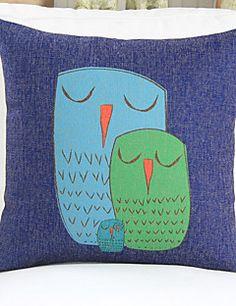 """18 """"Abstraktní Sovy modrá Bavlna / Len Dekorační povlak na polštář"""
